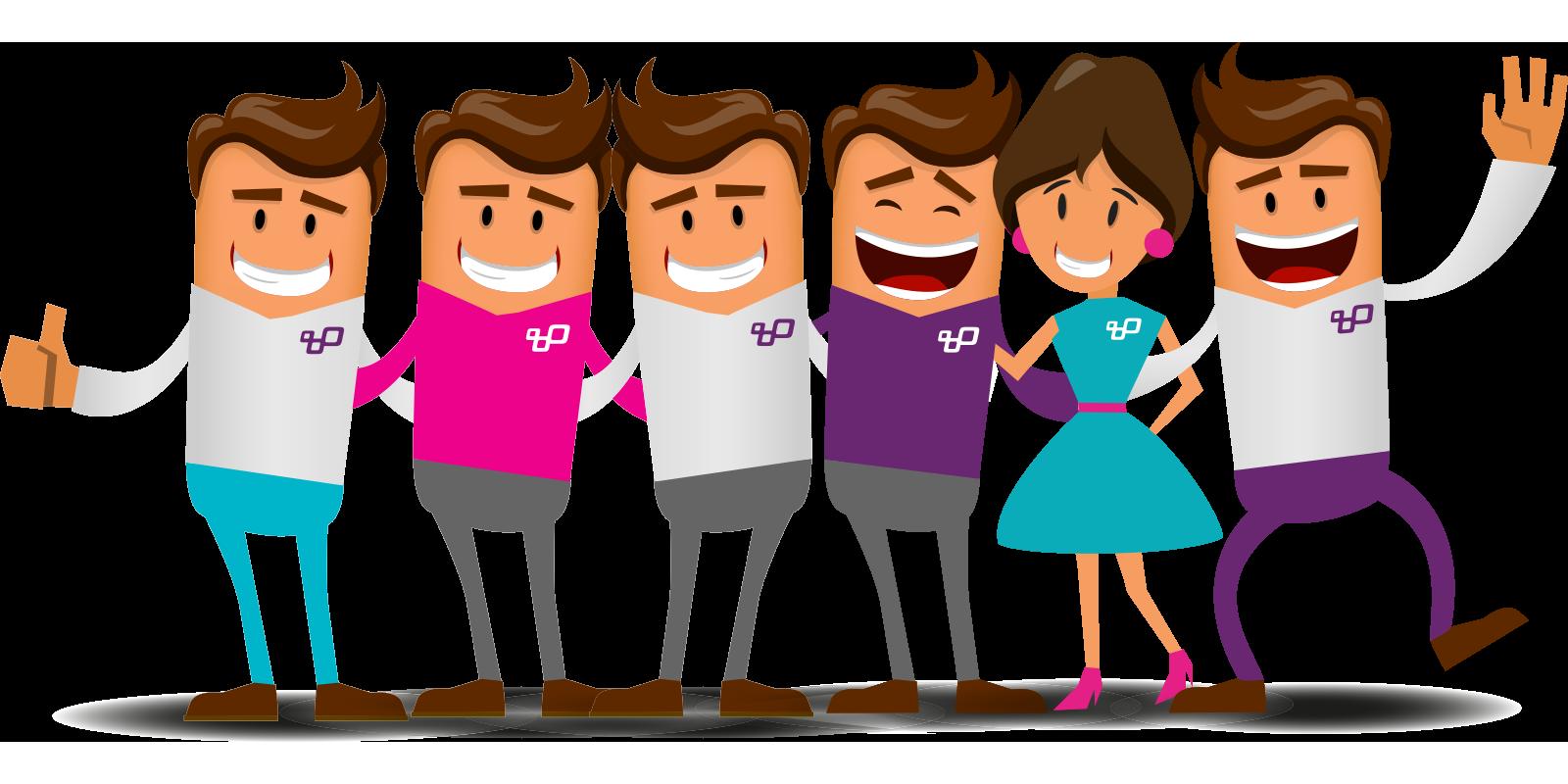 Groepsfoto van alle collega's van Booosters for Jobs, in animatie weergegeven.