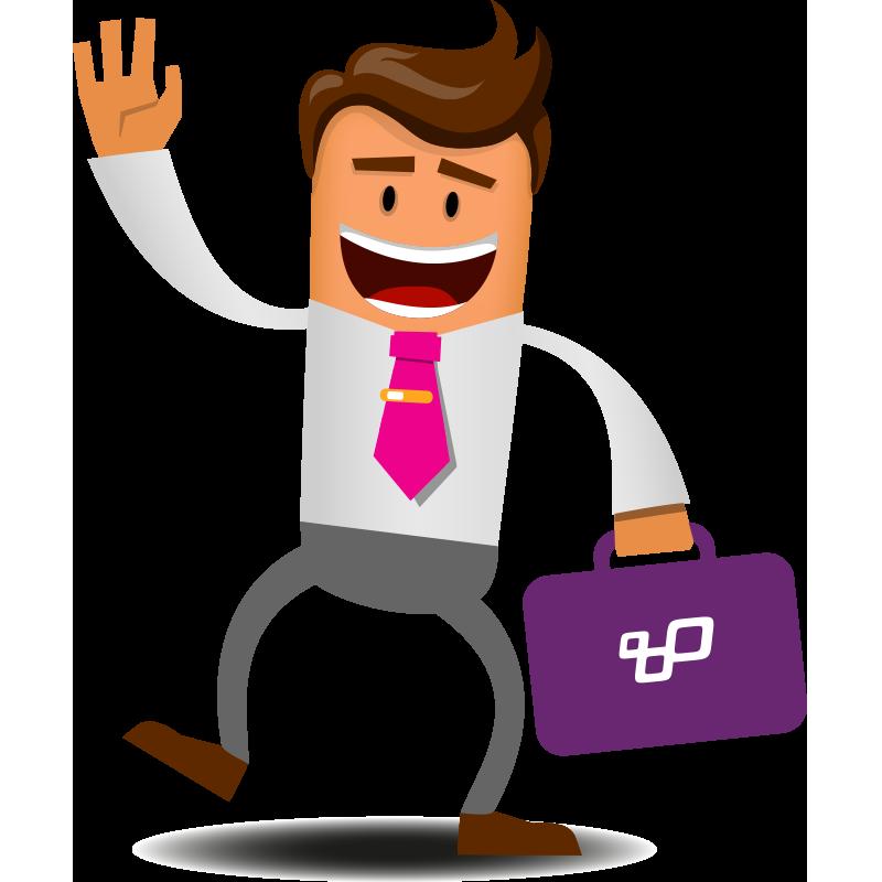 Illustratie. Een vrolijke Bo, mascotte van Booosters for Jobs, draagt zijn pak en houd zijn werkkoffertje vast.